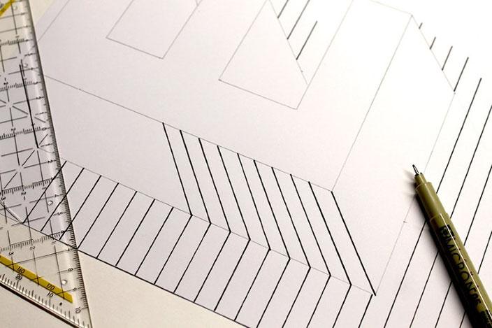 Tutorial Lettering: eine optische Illusion mit dem Buchstaben E gestalten (Schritt 4)