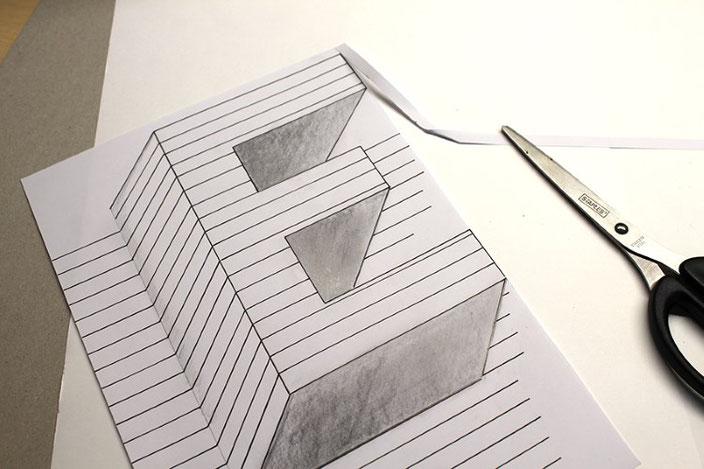 Handlettering Anleitung: gestalte eine optische Illusion mit dem Buchstaben E (Ausschneiden)