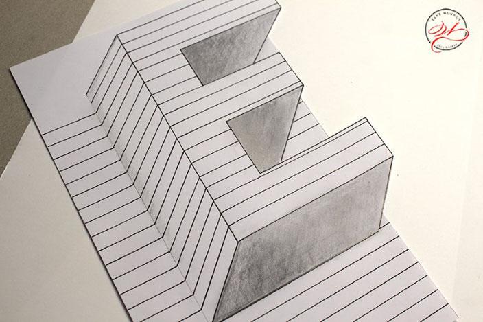 Handlettering Anleitung: gestalte eine optische Illusion mit dem Buchstaben E (Blatt richtig ausschneiden)