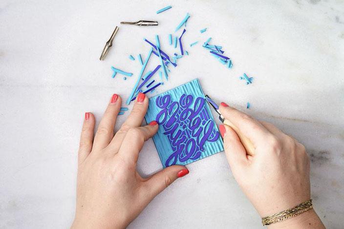 DIY Anleitung: Dein eigenes Lettering als Linolschnitt Stempel gemacht