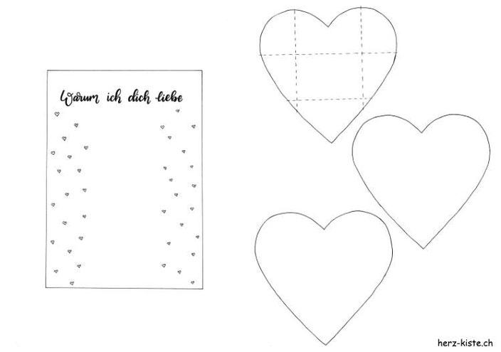 Freebie für dein Valentinstag Geschenk - Vorlage Herz und Hintergrund