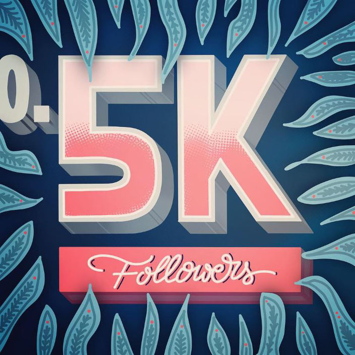 digitales Handlettering: 0.5K Followers (Lettering von alexander_flemming bei den Letter Lovers)