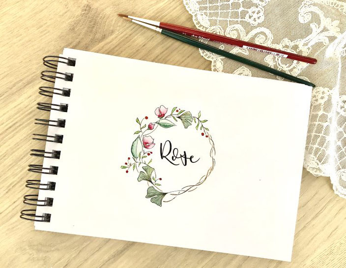 Rose - Handlettering mit Blumenkranz (letter_fee für die Letter Lovers)