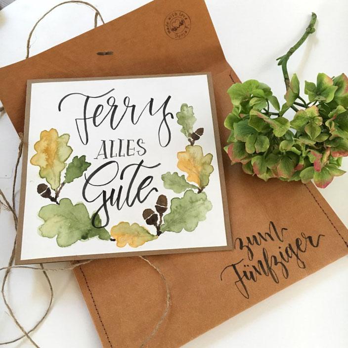 Geburtstagskarte Lettering: Alles Gute. Handlettering von sonja.theresia bei den Letter Lovers