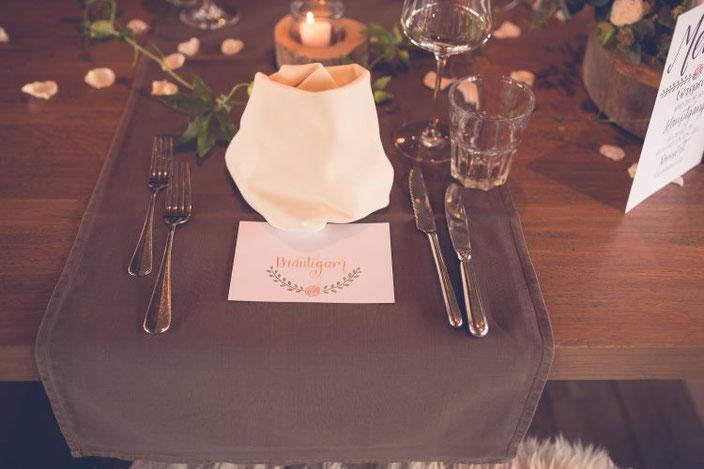 Tischdekoration Hochzeit - Platzkarte für den Bräutigam (Foto von TW-Fotoart)