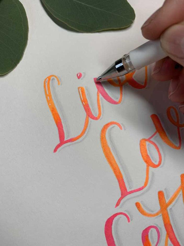 Lettering Anleitung für ein Blending in neon Farben - anschliessend Schatten und Highlights setzen