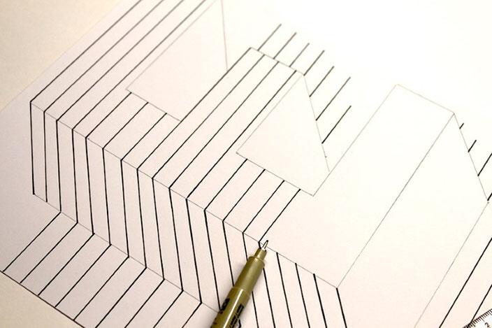 Lettering Tutorial: gestalte eine optische Illusion mit dem Buchstaben E (Schritt 5)