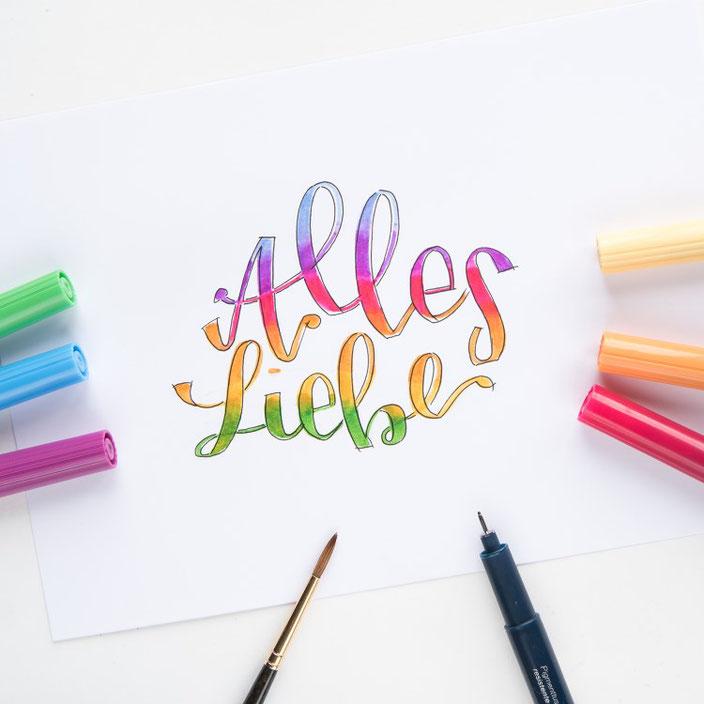 Handlettering: Alles Liebe (jane_carrot für die Letter Lovers)