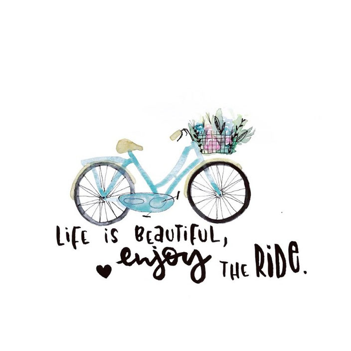 Handlettering: life is beautiful, enjoy the ride. Lettering mit Aquarell von sketchedbytanja für die Letter Lovers