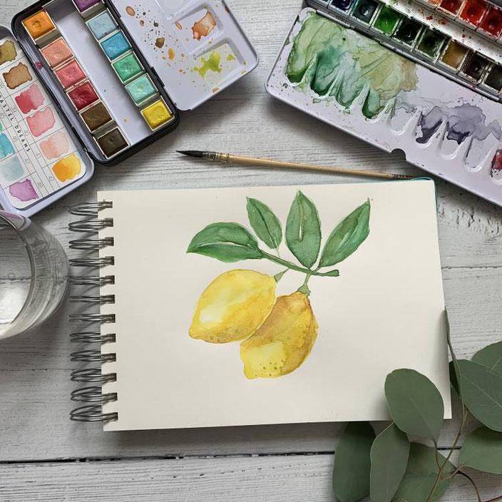 Aquarell Bild: Zitronen mit Blätter