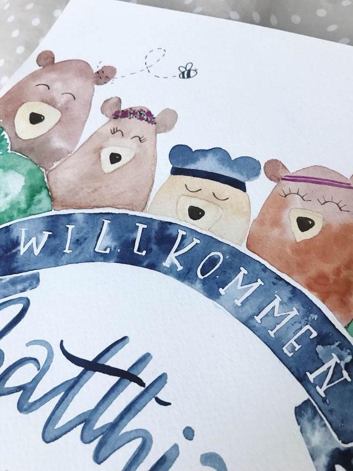 Willkommen Handlettering mit Watercolor Bären (Lettering von herzens.dame für die Letter Lovers)