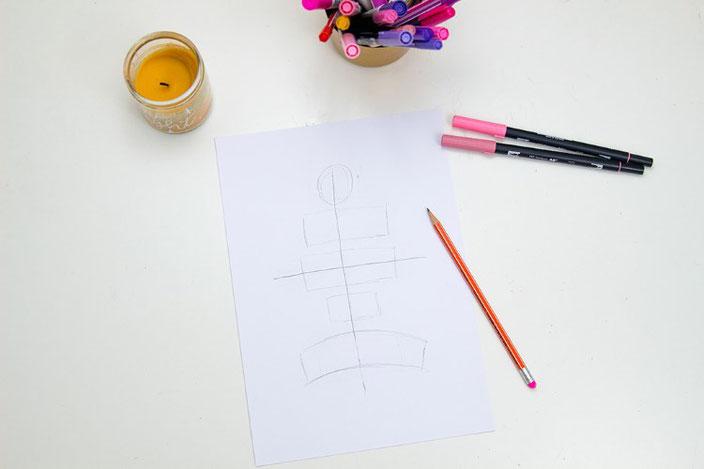 Anleitung wie du deine Letteringsprüche gestalten kannst: Schritt 2: Formen zeichnen