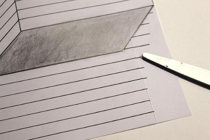 Lettering Anleitung: eine optische Illusion mit dem Buchstaben E gestalten - richtig ausschneiden