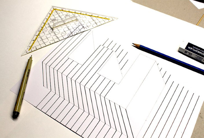 Handlettering Anleitung: eine optische Illusion mit dem Buchstaben E gestalten