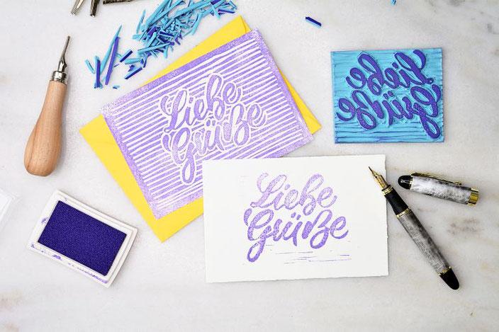 DIY Anleitung: Dein eigenes Lettering mit Linolschnitt auf einem Blockprint - so gestaltest du einen Stempel aus deinem eigenen Lettering!