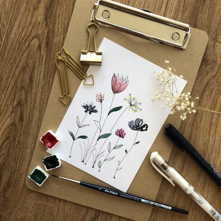 Anleitung: Wie du simple und ganz einfache Aquarellblumen malen kannst