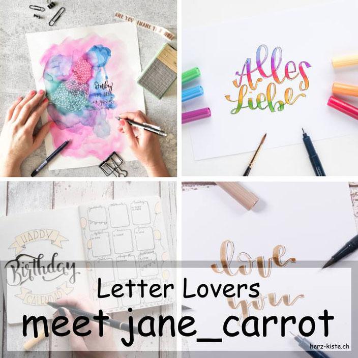 Handlettering: jane_carrot zu Gast bei den Letter Lovers mit einer Anleitung zum Blending mit Brushpens
