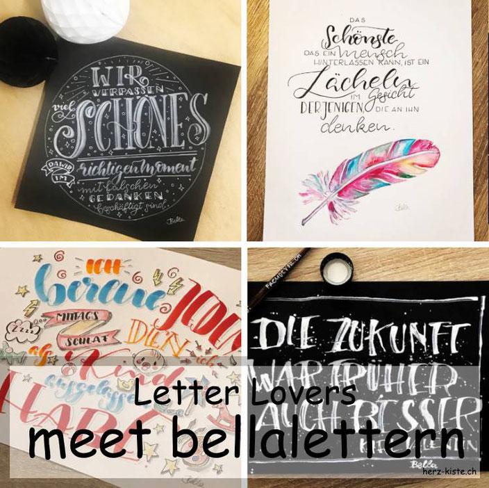 bellalettern zu Gast im Lettering Interview bei den Letter Lovers mit einer Anleitung wie du ganz einfach ein Layout für deinen Handlettering Spruch gestaltest.