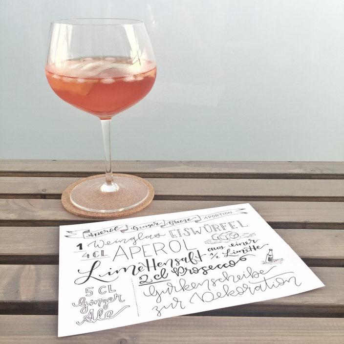 Handlettering für einen Aperol Ginger Breeze - Lettering von wortliebelei für die Letter Lovers