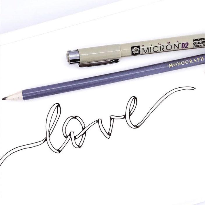 DIY Anleitung für ein Ribbon Lettering anhand dem Beispielwort love - Anleitung von sketchedbytanja bei den Letter Lovers