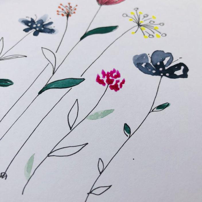 Wie du ganz einfache Aquarellblumen malen kannst - Feinschliff mit Gelliner