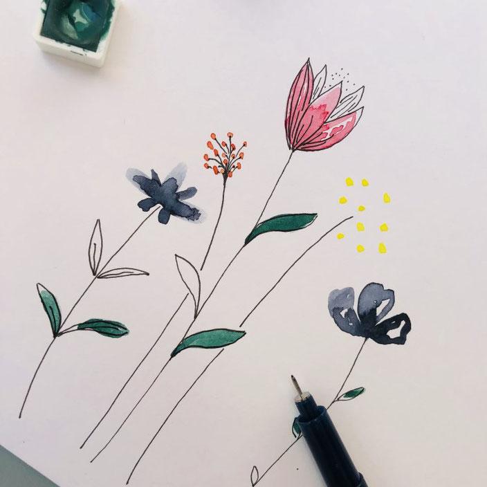 Anleitung um einfache Aquarellblumen zu malen