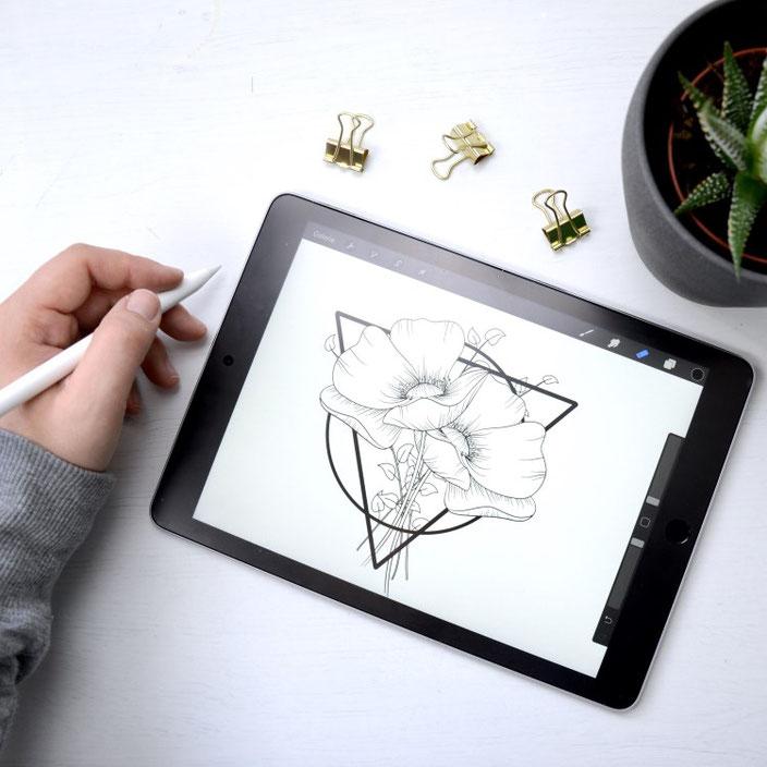 Lettering mit Blumen auf dem iPad von Kreafine bei den Letter Lovers