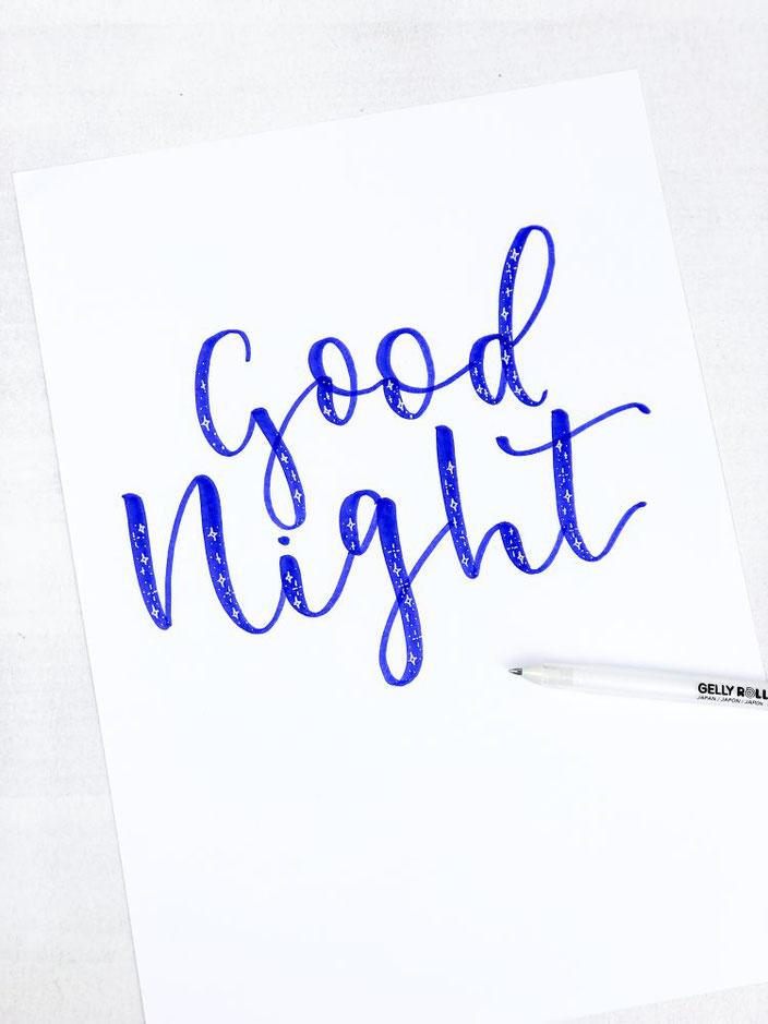 DIY Handlettering Anleitung: Wie du ein Lettering mit einem Sternchen Effekt gestaltest - im Beispiel good night