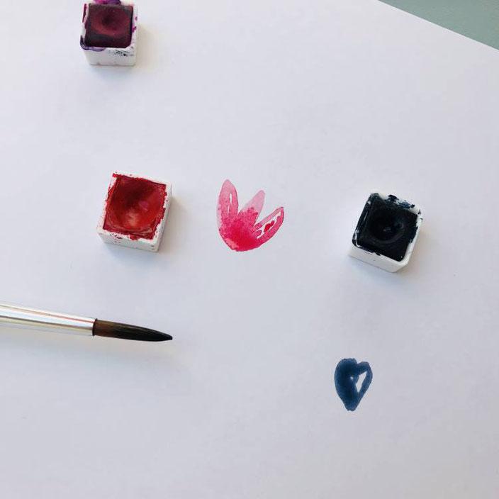Anleitung für easy Aquarellblumen malen - Schritt 1