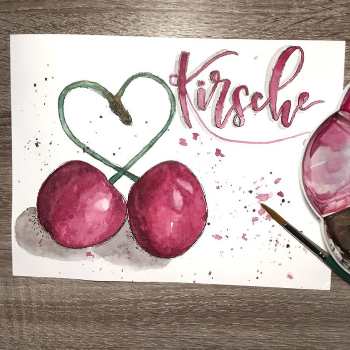 Handlettering mit Aquarell: Kirsche (madi_yellow_freak  bei den Letter Lovers)