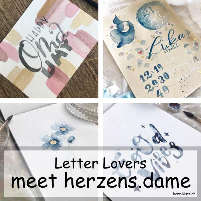 herzens.dame zu Gast im Lettering Interview bei den Letter Lovers mit einer Anleitung für eine Watercolor Geburtstagskarte