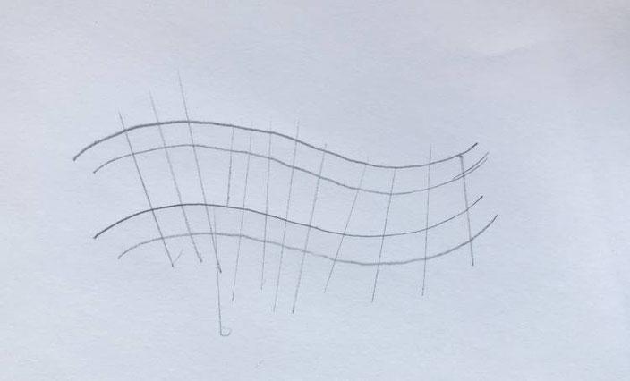 Anleitung für ein Wellenbild gestalten mit Kalligraphie oder Handlettering - Linien im rechten Winkel einzeichnen
