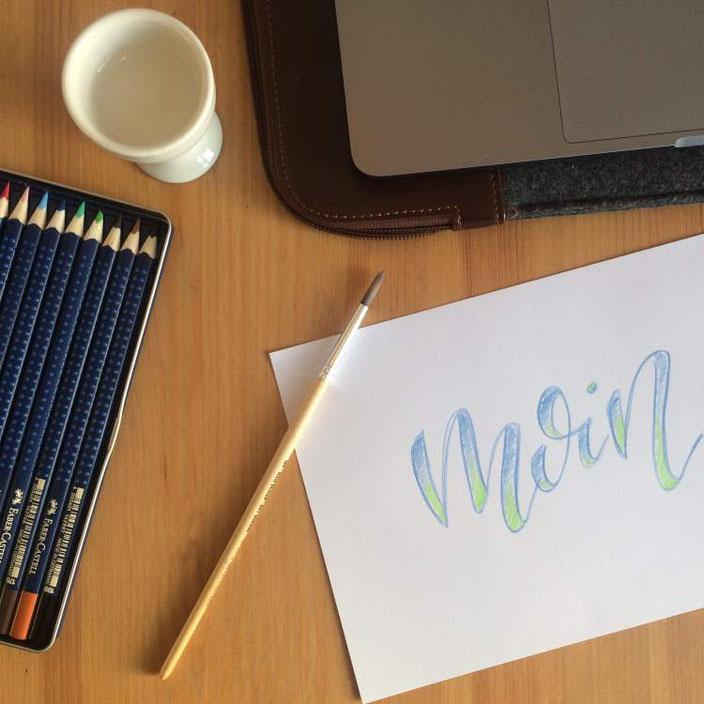 Lettering Anleitung: Faux Calligraphy mit aquarellierbaren Buntstiften - Schritt 5: verblenden