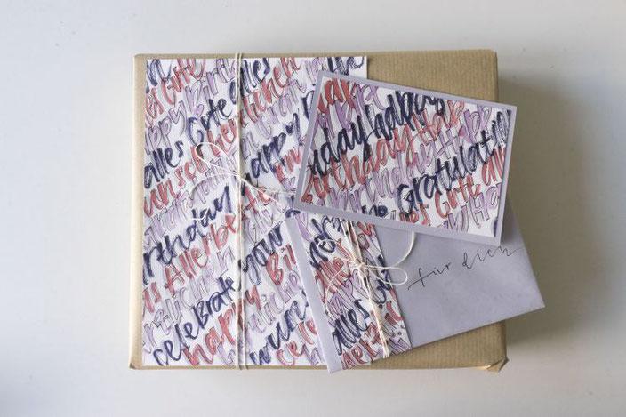 DIY Anleitung für eine einfache Gestaltung eines Geschenksets mit Handlettering - so hast du eine einzigartige Geschenkverpackung!