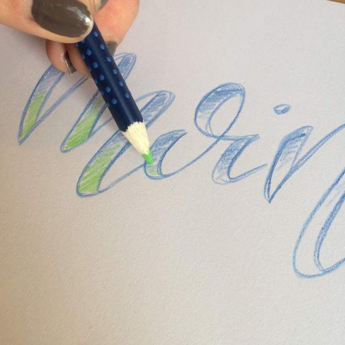 Handlettering Anleitung für Falsche Kalligraphie mit aquarellierbaren Buntstiften - Schritt 4: zweite Farbe benützen