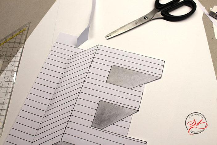 Handlettering Anleitung: gestalte eine optische Illusion mit dem Buchstaben E: Oberseite ausschneiden