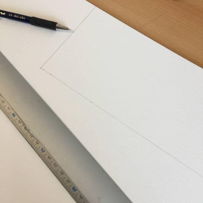 DIY Anleitung für eine Flaschenbanderole mit Handlettering: Ausgemessene Grösse auf Papier übertragen