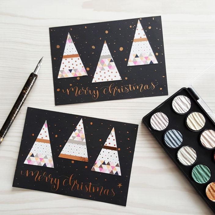 Handlettering Guide für Anfänger: Kalligraphie - merry christmas Karte