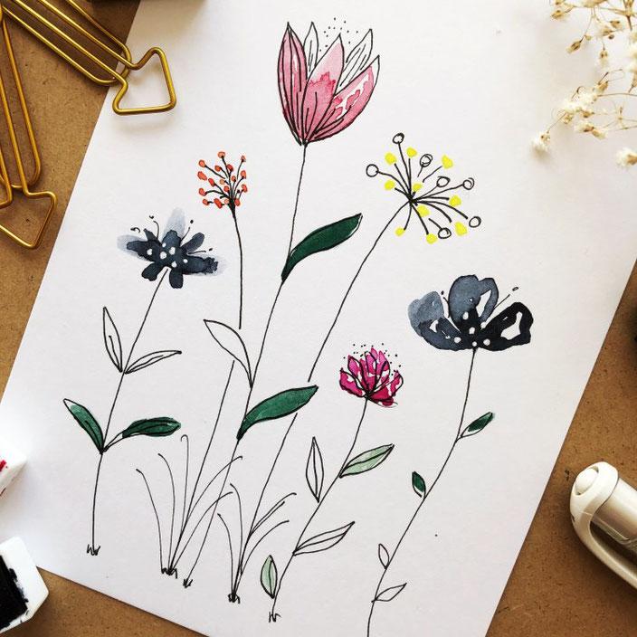 Anleitung für einfach gemalte Aquarellblumen - mit Farben und Fineliner