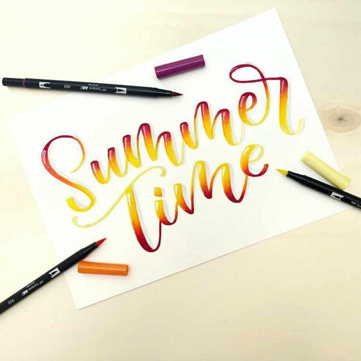summer time - Brushlettering mit wunderschönem Blending und Farbverlauf