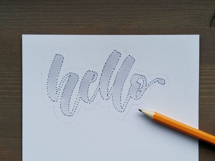 hello - Punkte Lettering Anleitung: Outline um Wort ziehen mit Bleistift