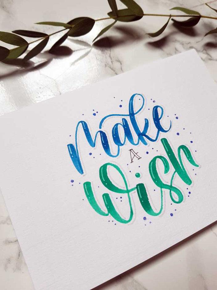 make a wish - gestalte ganz einfach eine Geburtstagskarte mit Lettering (Schritt für Schritt Anleitung)