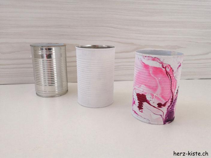 DIY Dosen Upcycling - von einer leeren Dose zum schönen marmorierten Behälter