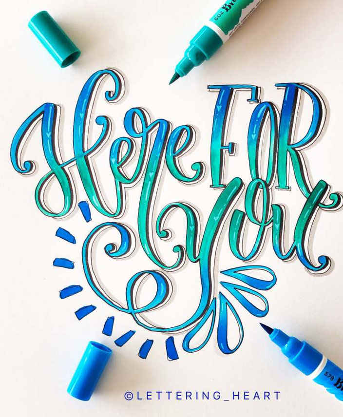 Handlettering Here for you - Lettering von lettering_heart bei den Letter Lovers