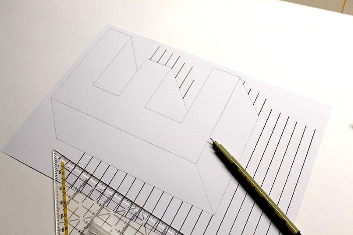 Handlettering Anleitung: gestalte eine optische Illusion mit dem Buchstaben E (Schritt 3)
