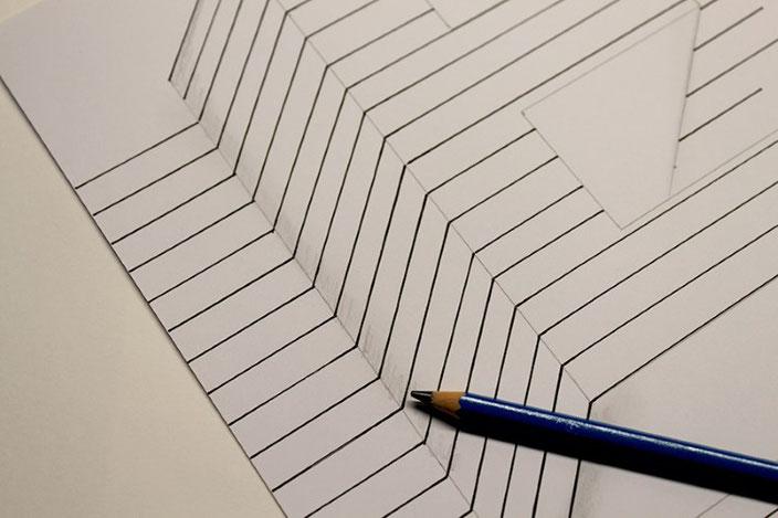 Handlettering Anleitung: gestalte eine optische Illusion mit dem Buchstaben E (Schatten hinzufügen)