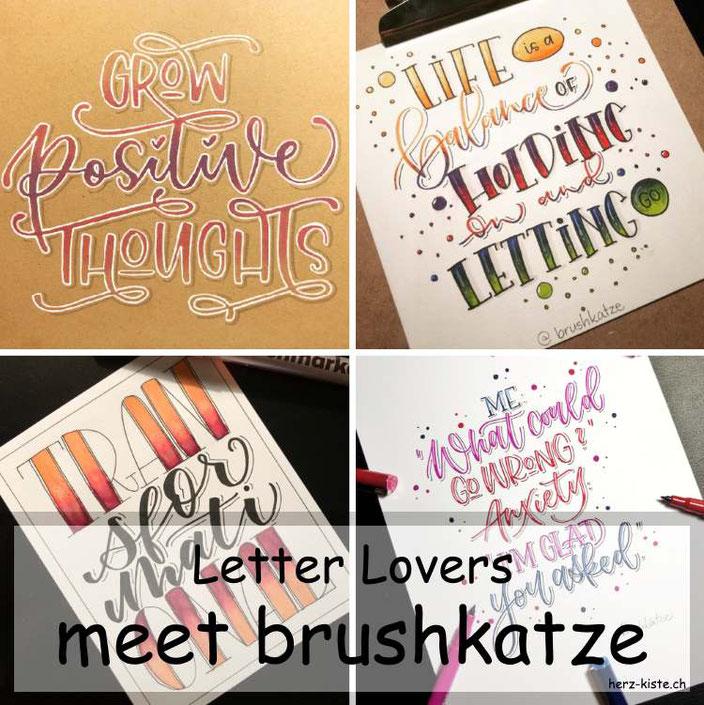 Letter Lovers - brushkatze zu Gast im Lettering Interview mit einer Anleitung für ein farbiges Lettering auf Kraftpapier