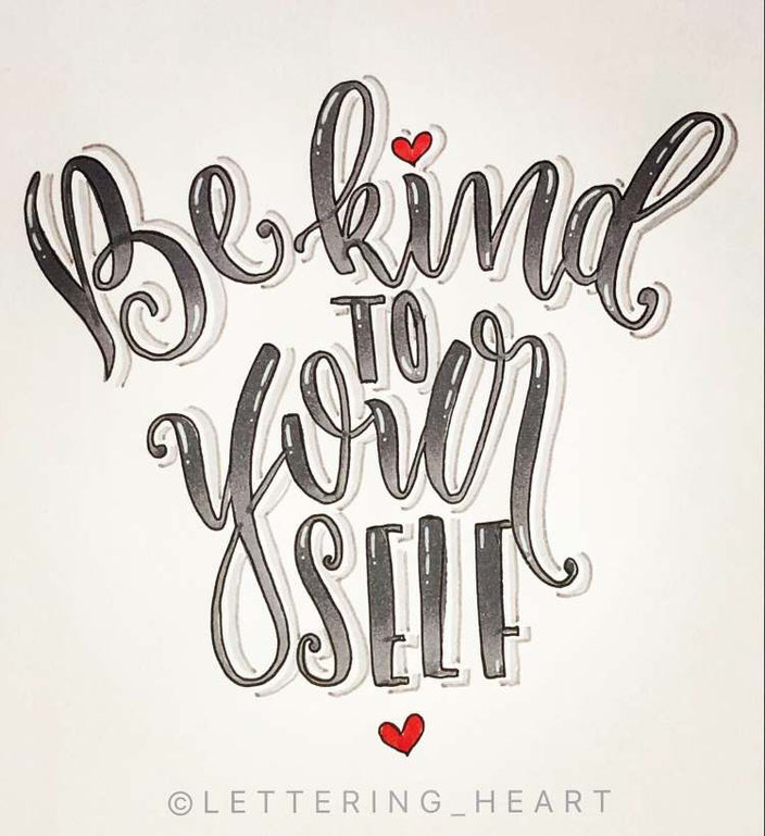 Lettering: Be kind to yourself (Handlettering von lettering_heart für die Letter Lovers)