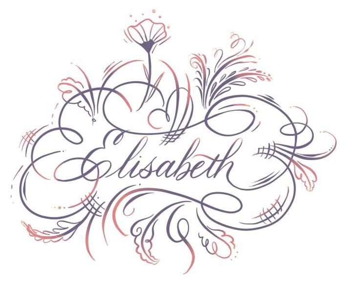 Kalligraphie mit Verzierung Elisabeth - Lettering von Tintenfuchs für die Letter Lovers