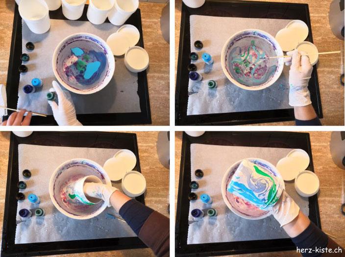 DIY Dosen marmorieren - Schritt für Schritt zum eigenen Adventskalender